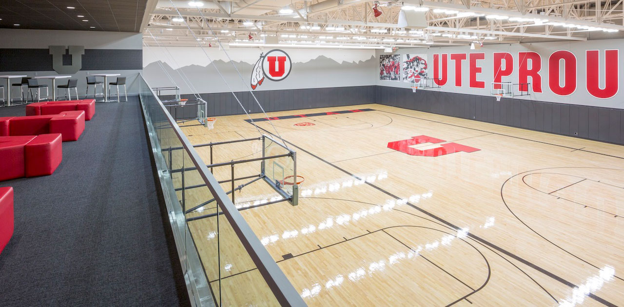 Practice court, University of Utah Basketball Facility, architectural design by Elliott Workgroup