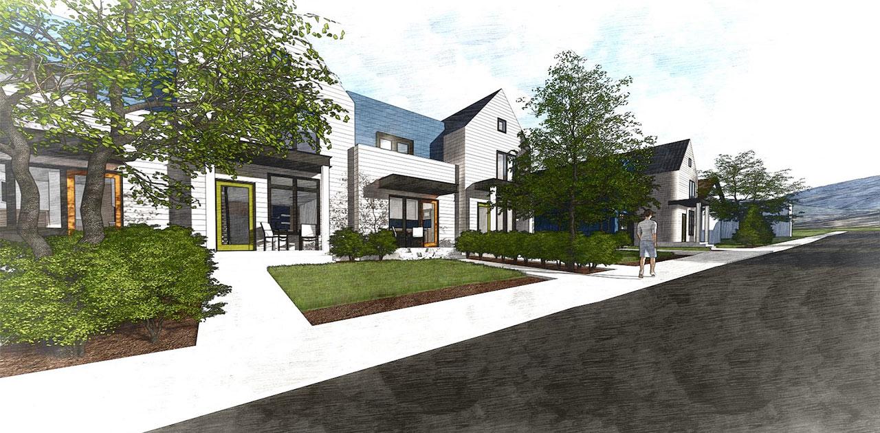 Rendering of Woodside Park Affordable Housing, architectural design by Elliott Workgroup