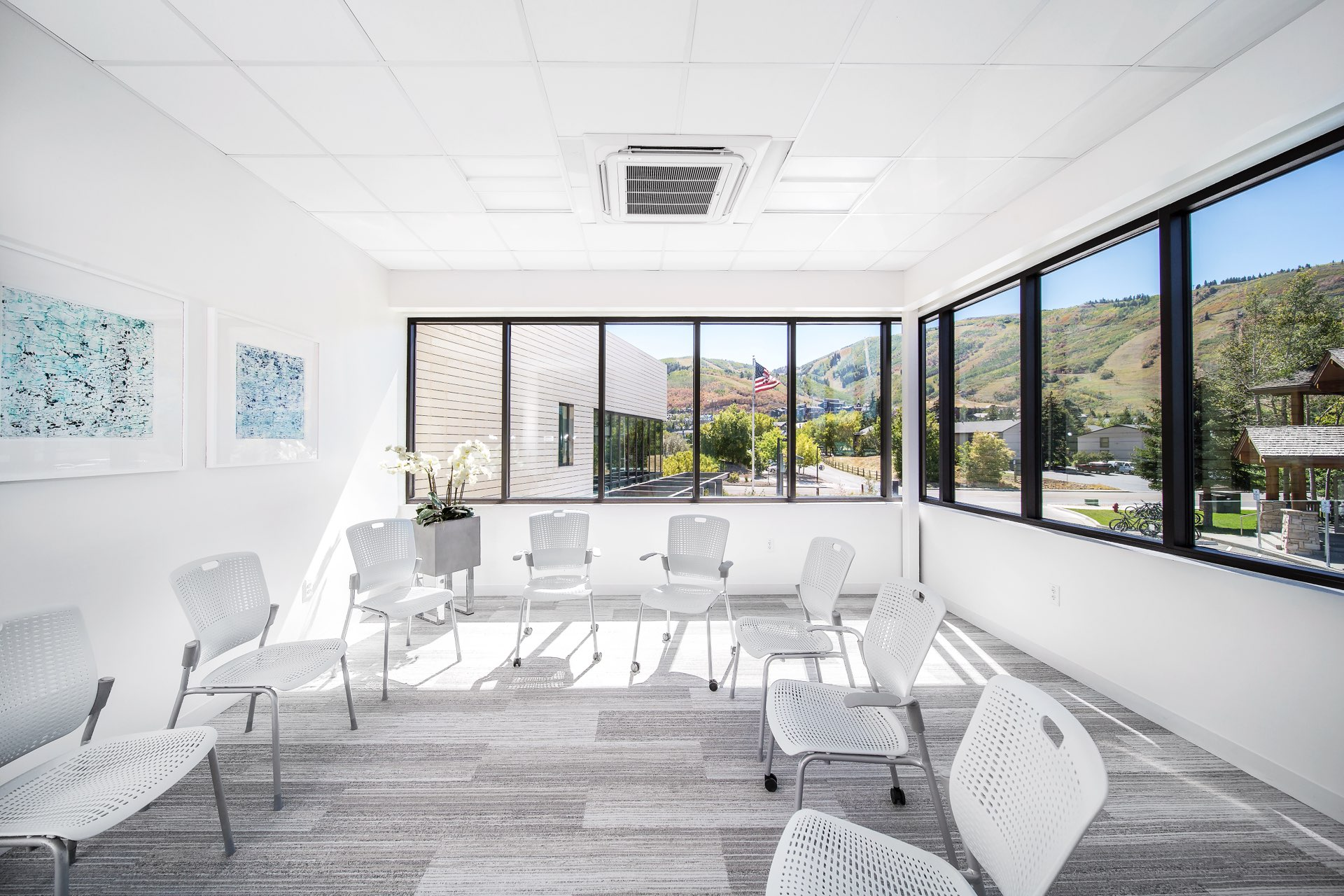 Meeting room, Christian Center of Park City, architectural design by Elliott Workgroup