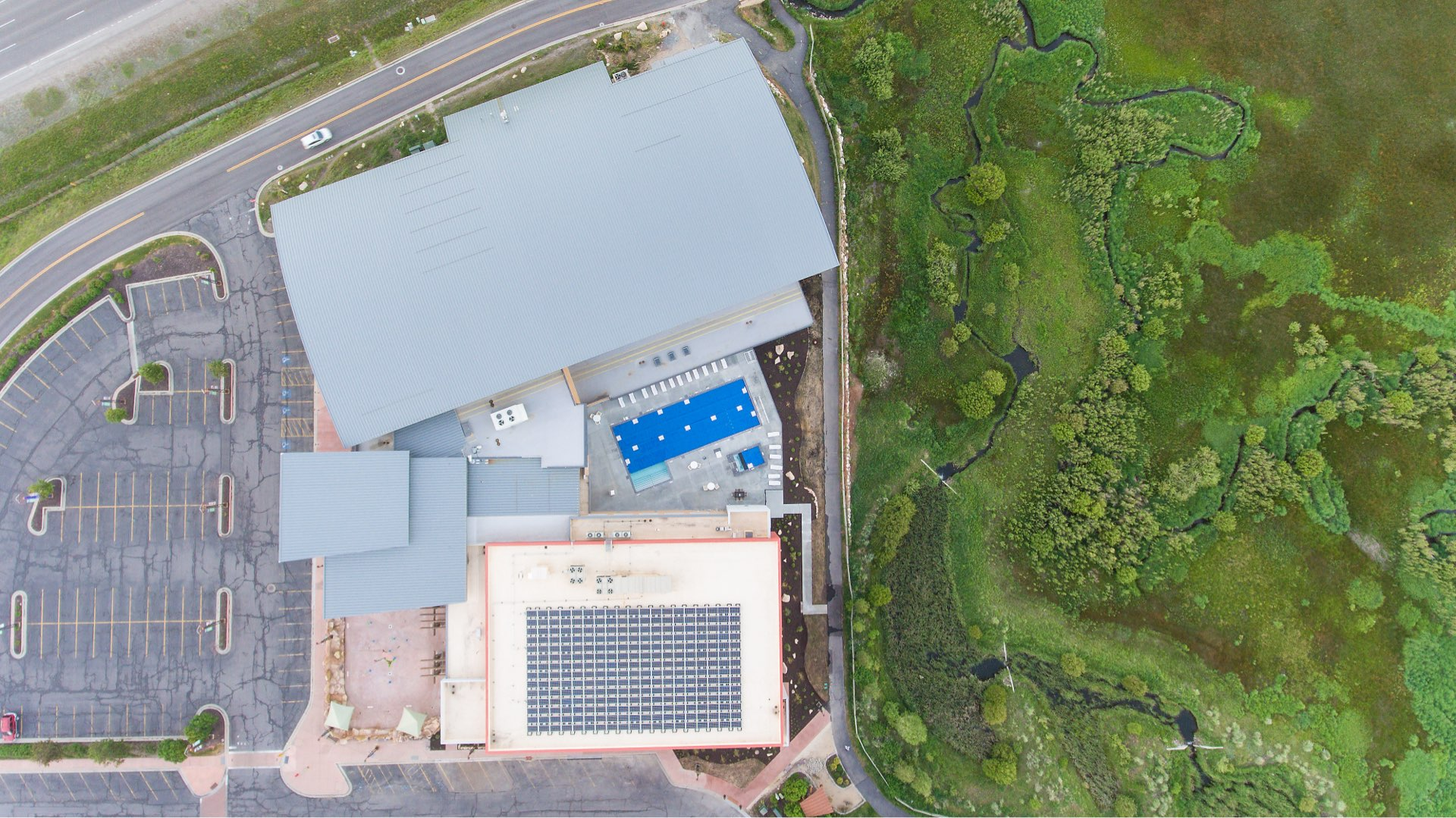 Aerial view, Basin Recreation Fieldhouse Expansion, architectural design by Elliott Workgroup