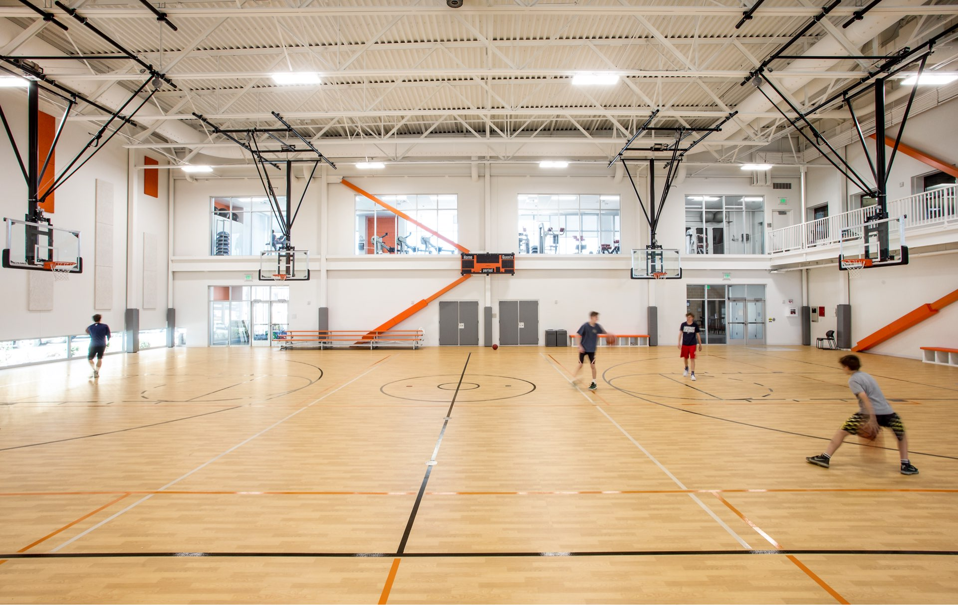 Basketball court, Basin Recreation Fieldhouse Expansion, architectural design by Elliott Workgroup