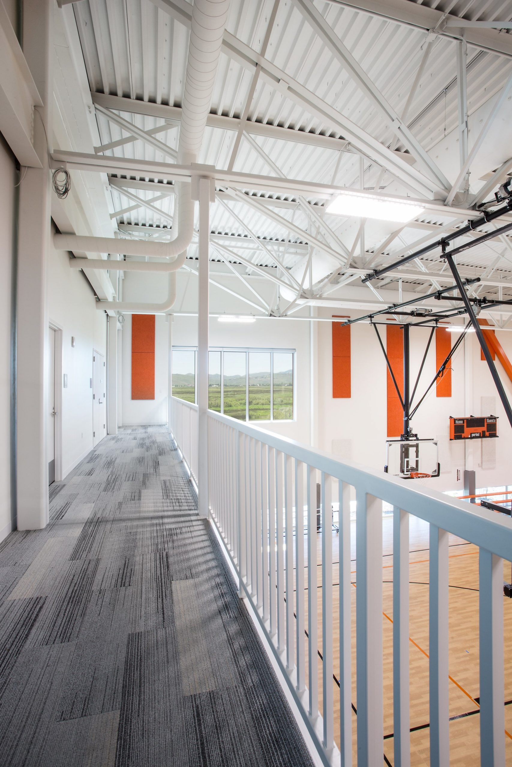 Elevated interior track, Basin Recreation Fieldhouse Expansion, architectural design by Elliott Workgroup