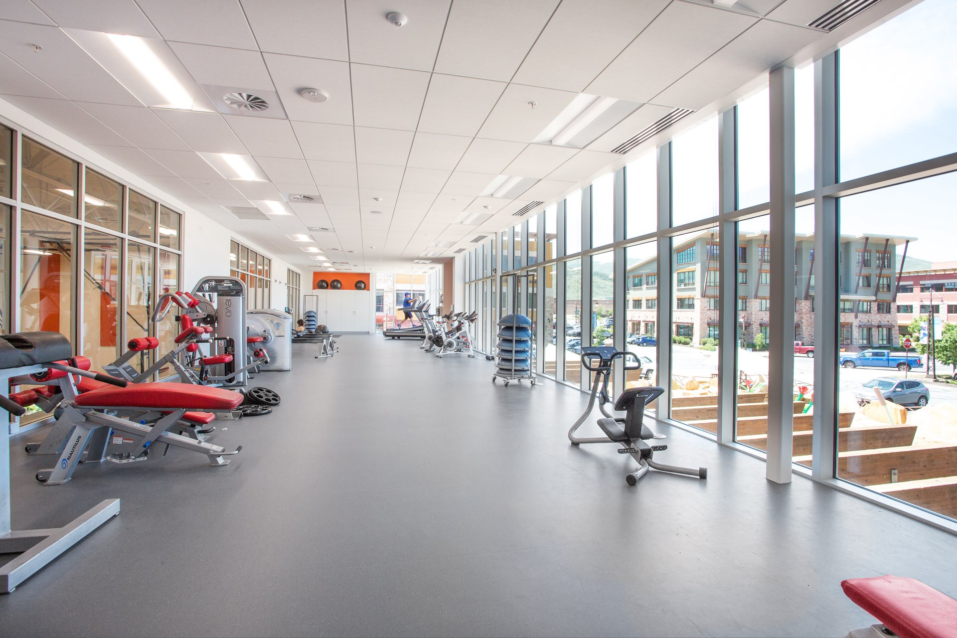 Fitness area, Basin Recreation Fieldhouse Expansion, architectural design by Elliott Workgroup