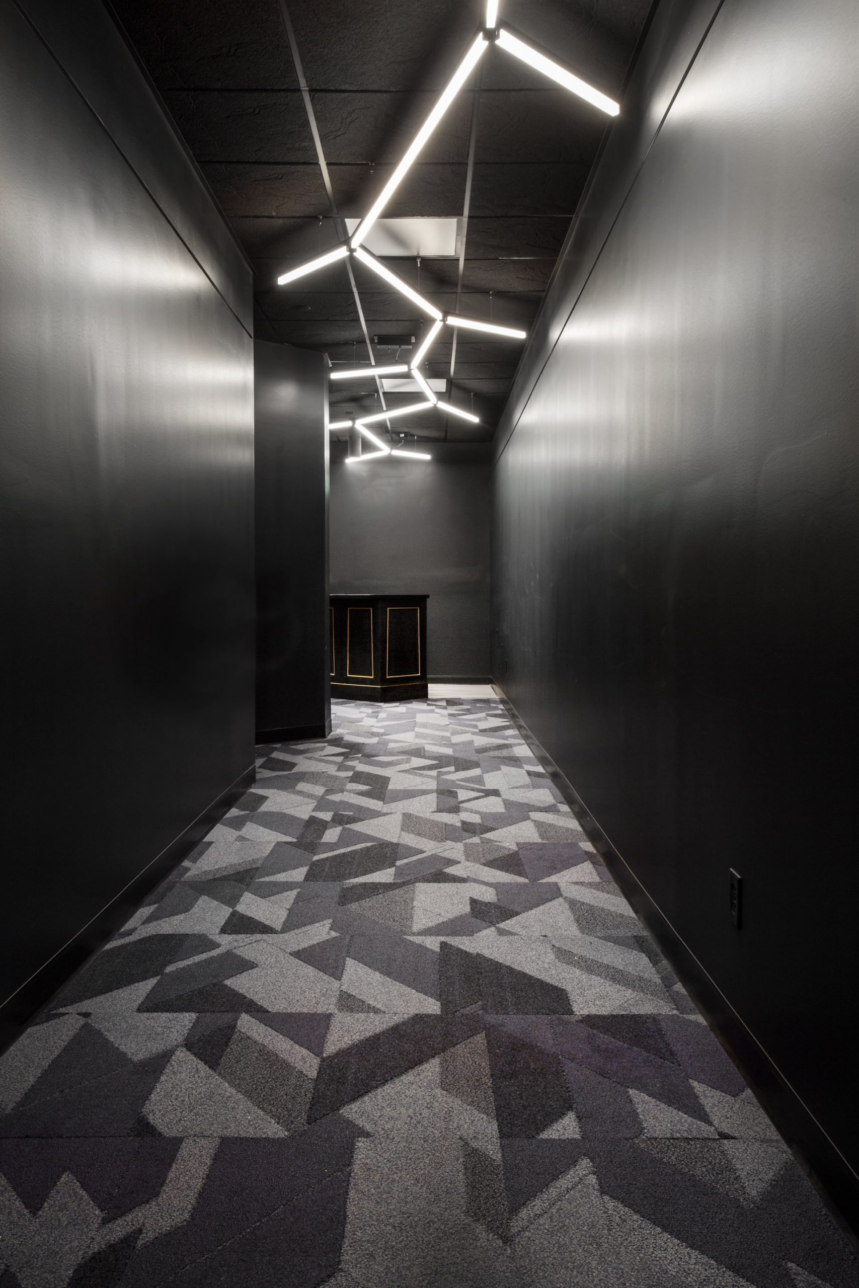Hallway, Egyptian Black Box Theater, architectural design by Elliott Workgroup