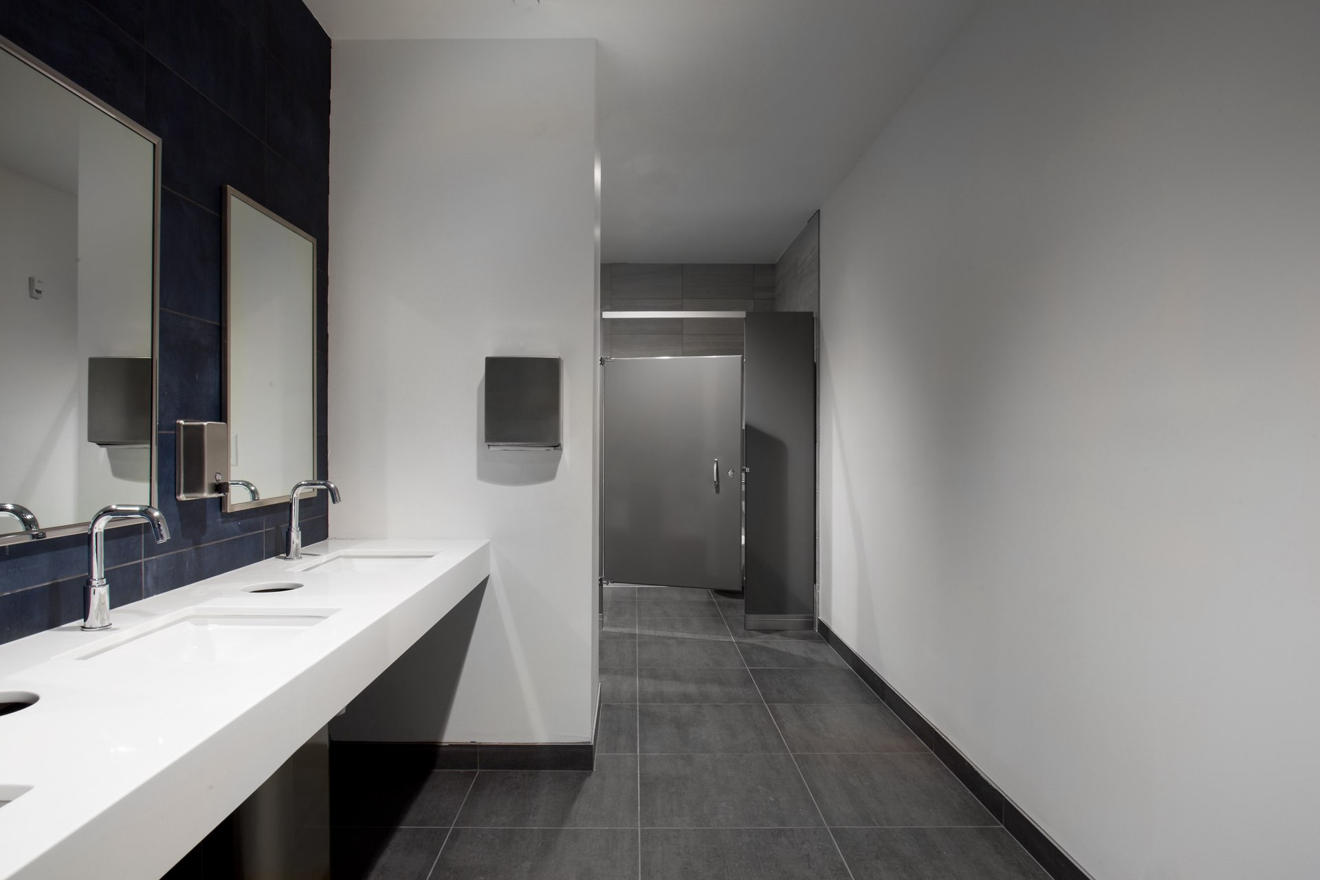 Restroom, Egyptian Black Box Theater, architectural design by Elliott Workgroup