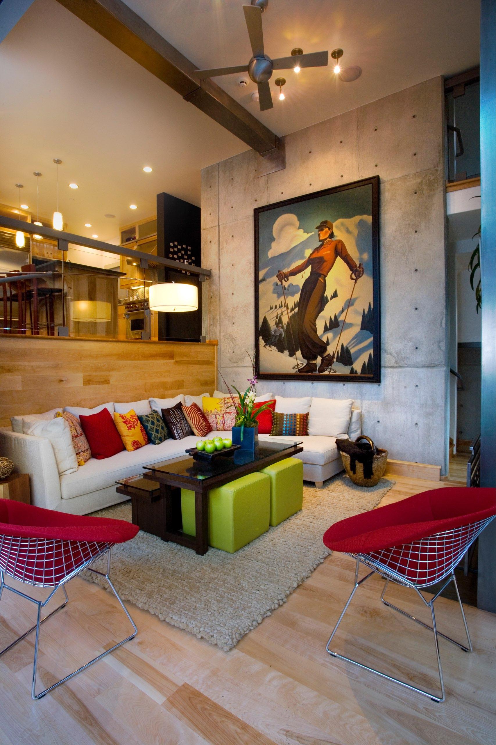 Living Room in Kings Crown Triplex in Park City, Utah, architectural design by Elliott Workgroup