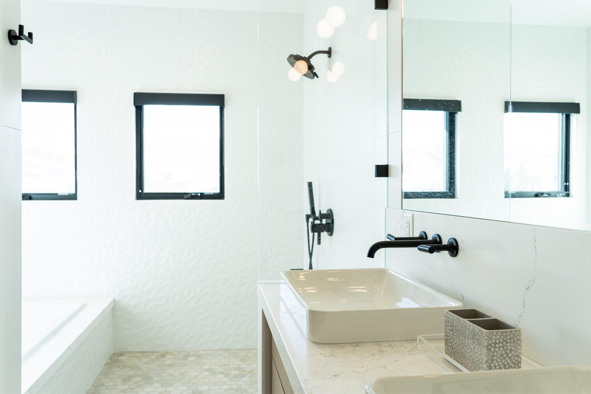 Bathroom, Larkspur Residence, architectural design by Elliott Workgroup