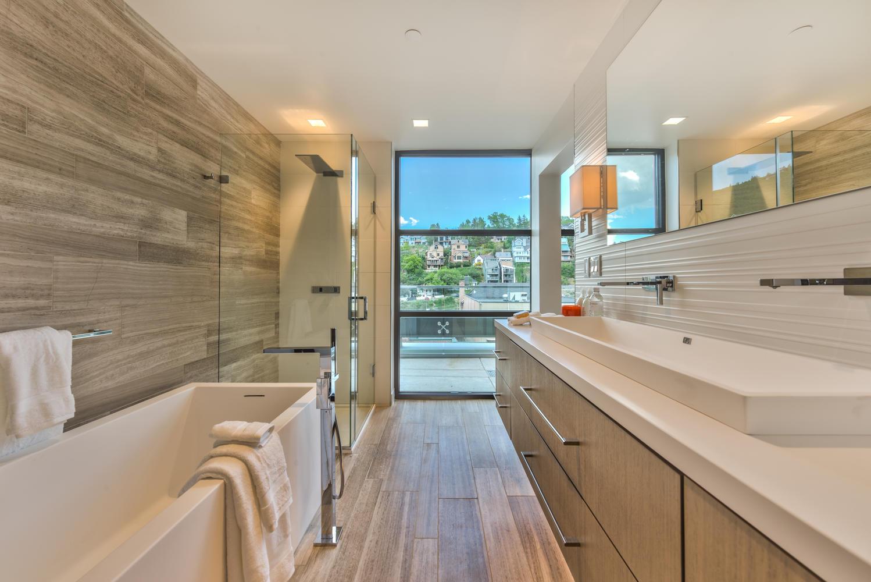 Bathroom, Parkite Penthouse, architectural design by Elliott Workgroup