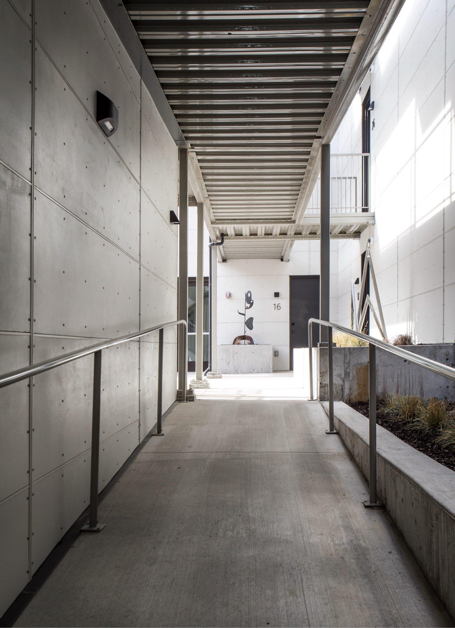 Exterior hallway, Prospector Residential, architectural design by Elliott Workgroup
