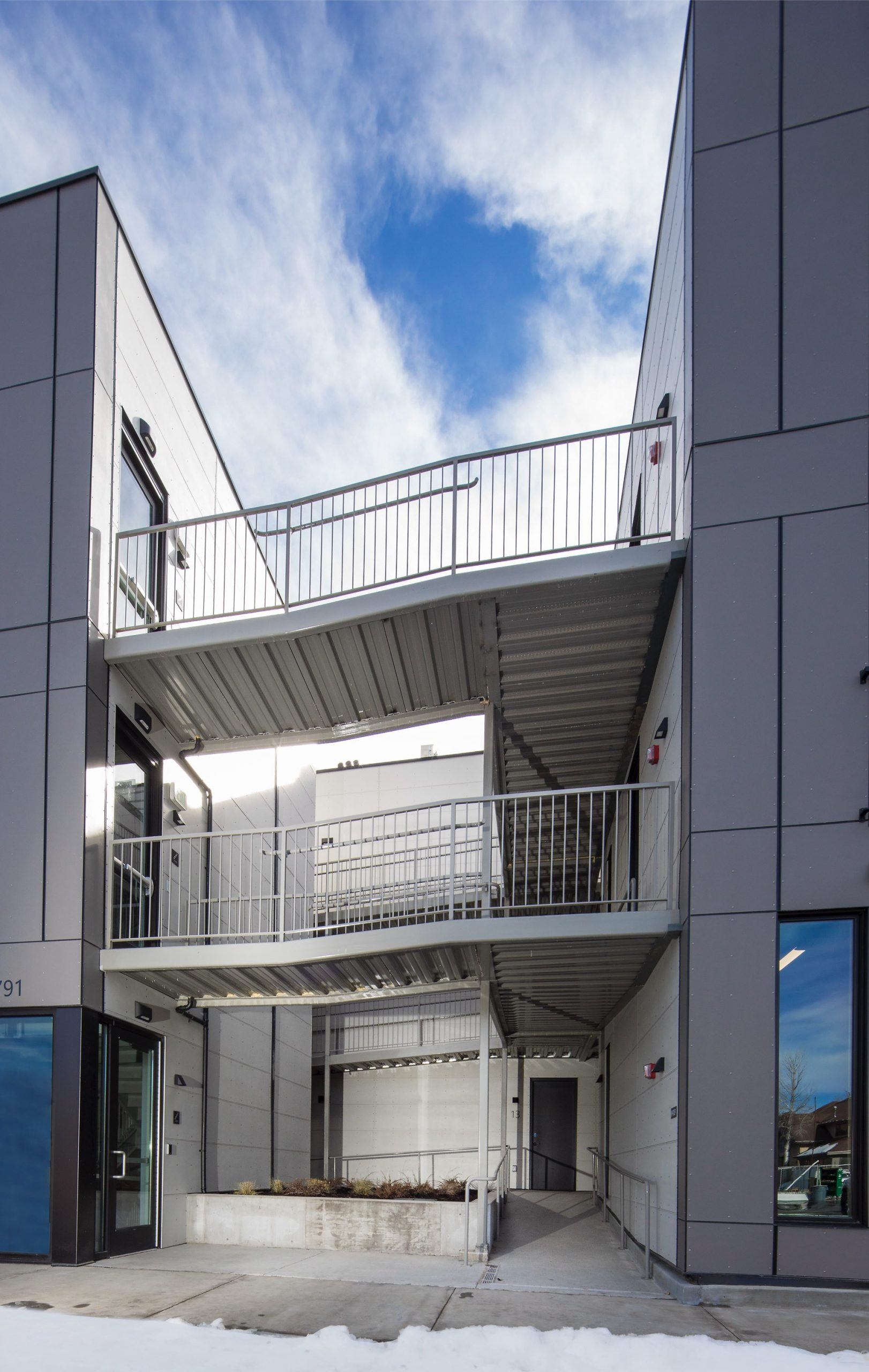Exterior hallways, Prospector Residential, architectural design by Elliott Workgroup