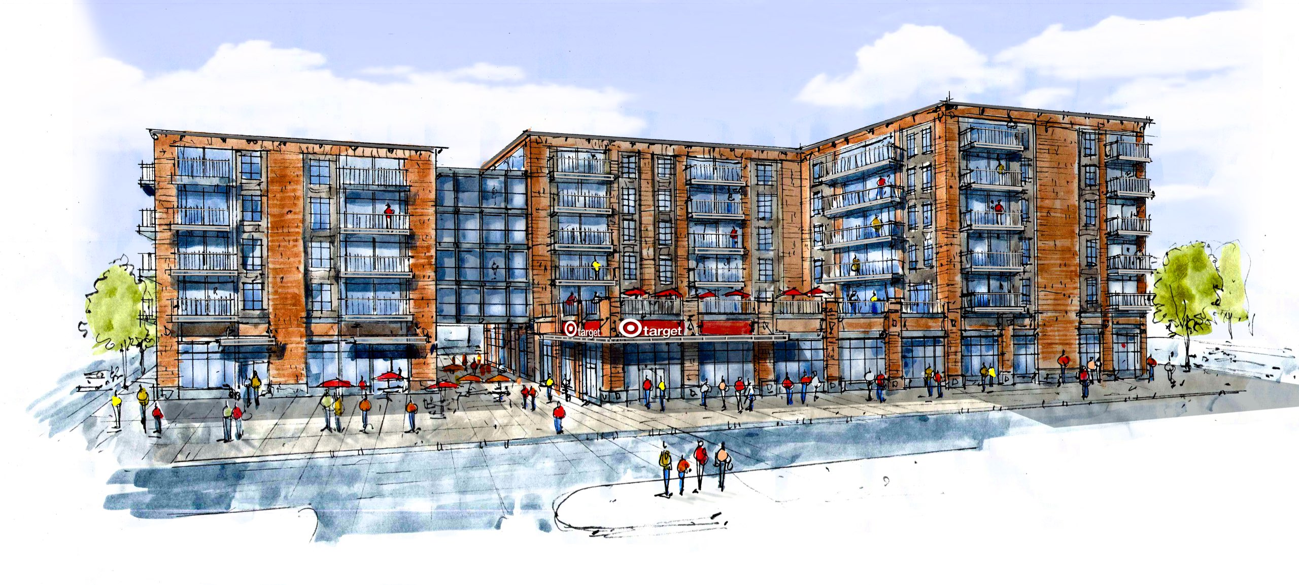 Target rendering at Redstone Commercial Core in Park City, Utah, architectural design by Rendering of Redstone Commercial Core in Park City, Utah, architectural design by Elliott Workgroup