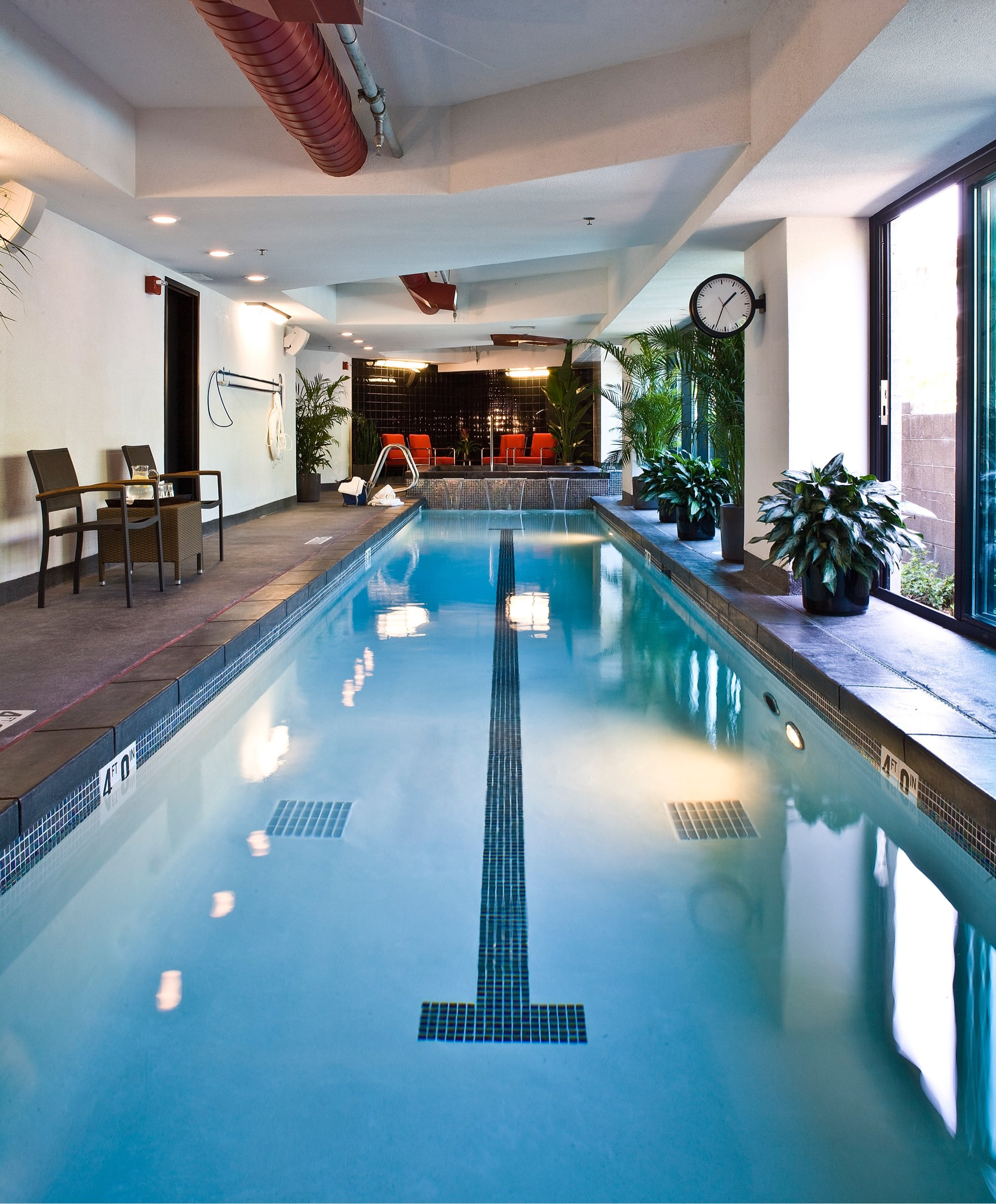 Indoor pool, Sky Lodge on Main, architectural design by Elliott Workgroup
