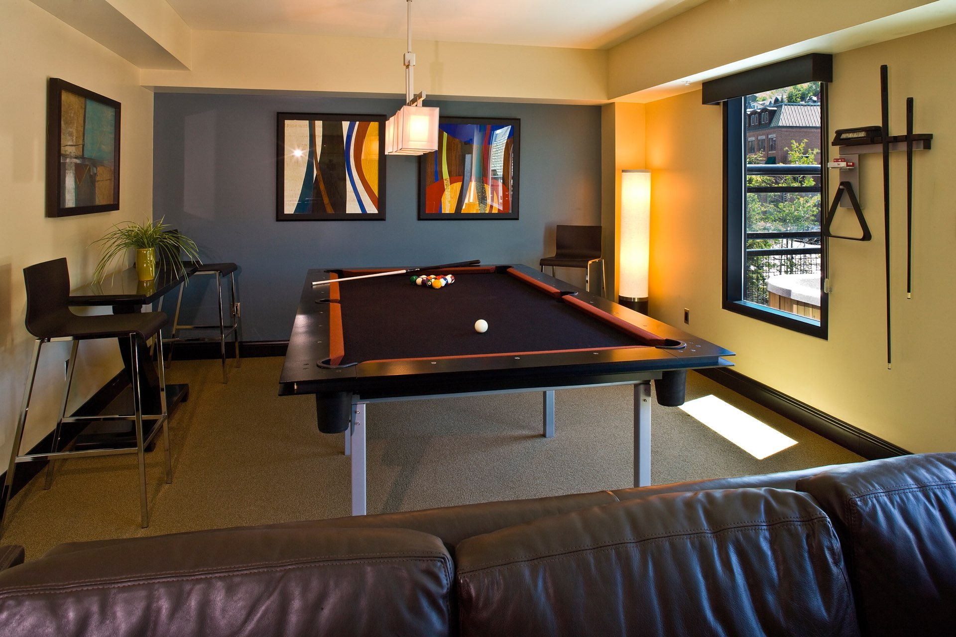 Pool table, Sky Lodge on Main, architectural design by Elliott Workgroup