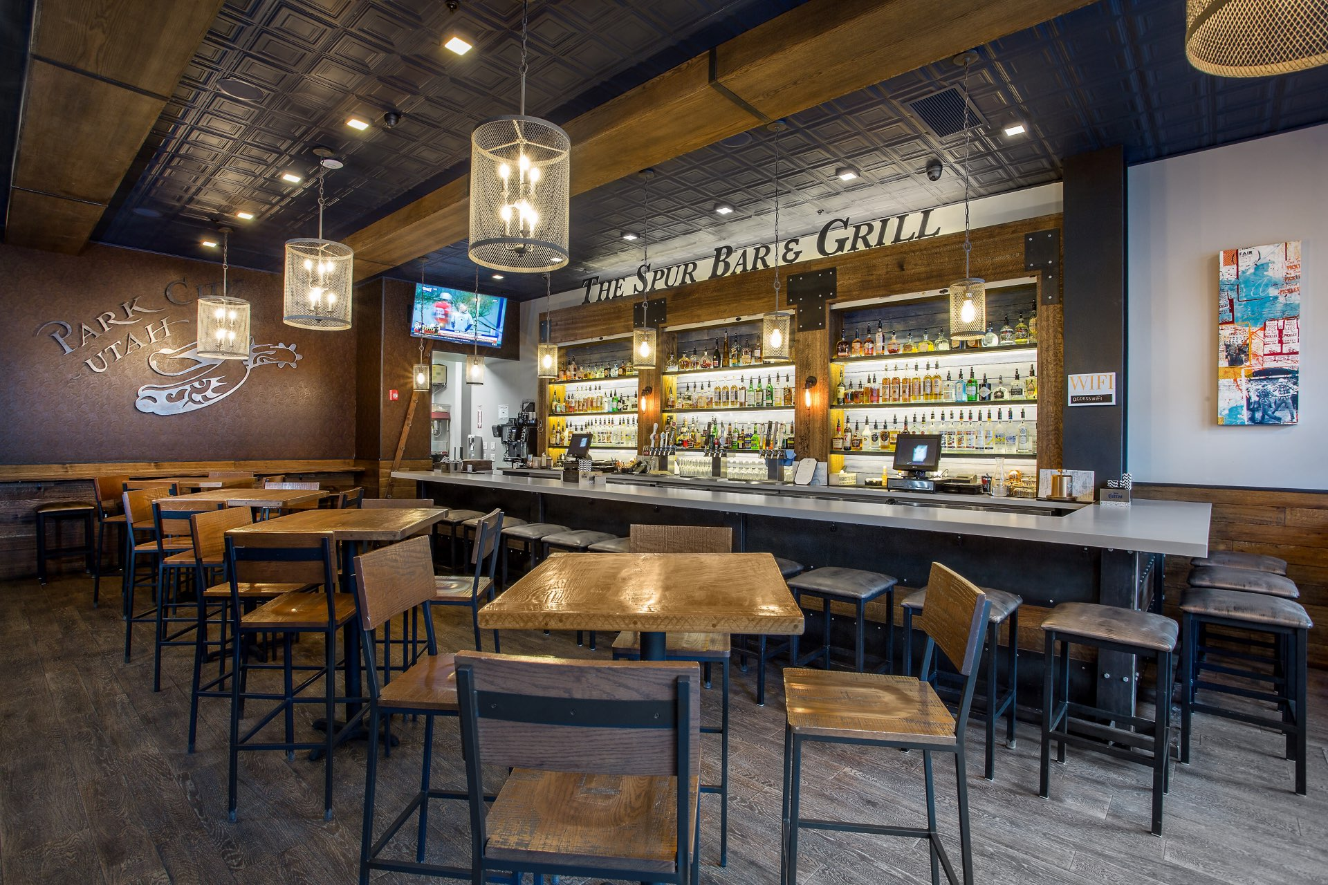 Bar detail, The Spur Bar and Grill, architectural design by Elliott Workgroup