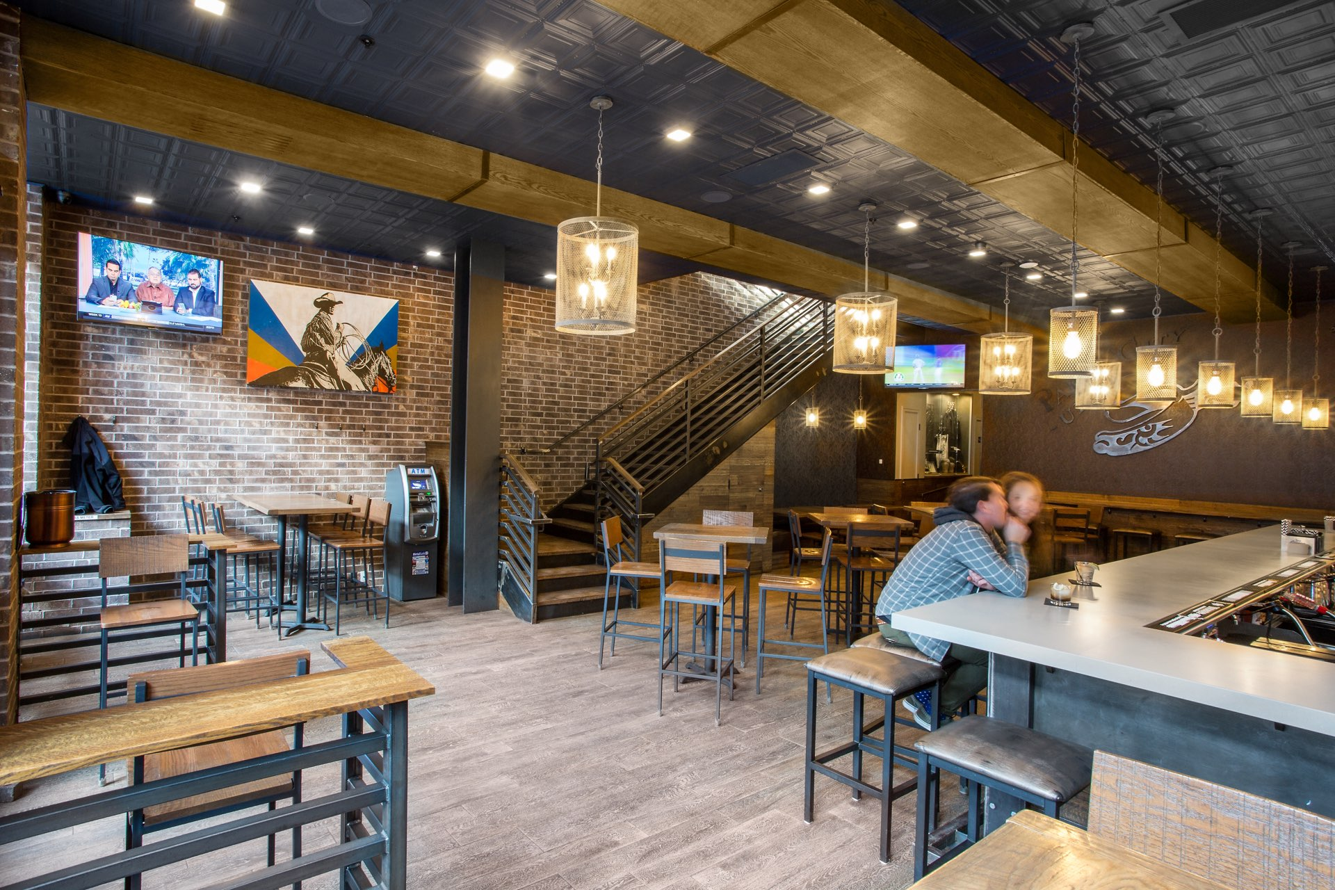 Stairs, The Spur Bar and Grill, architectural design by Elliott Workgroup
