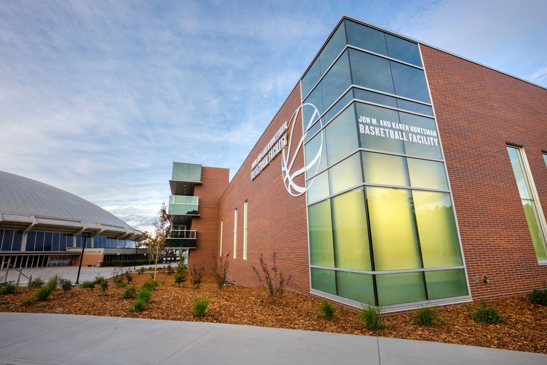 Exterior corner of the University of Utah Basketball Facility, architectural design by Elliott Workgroup