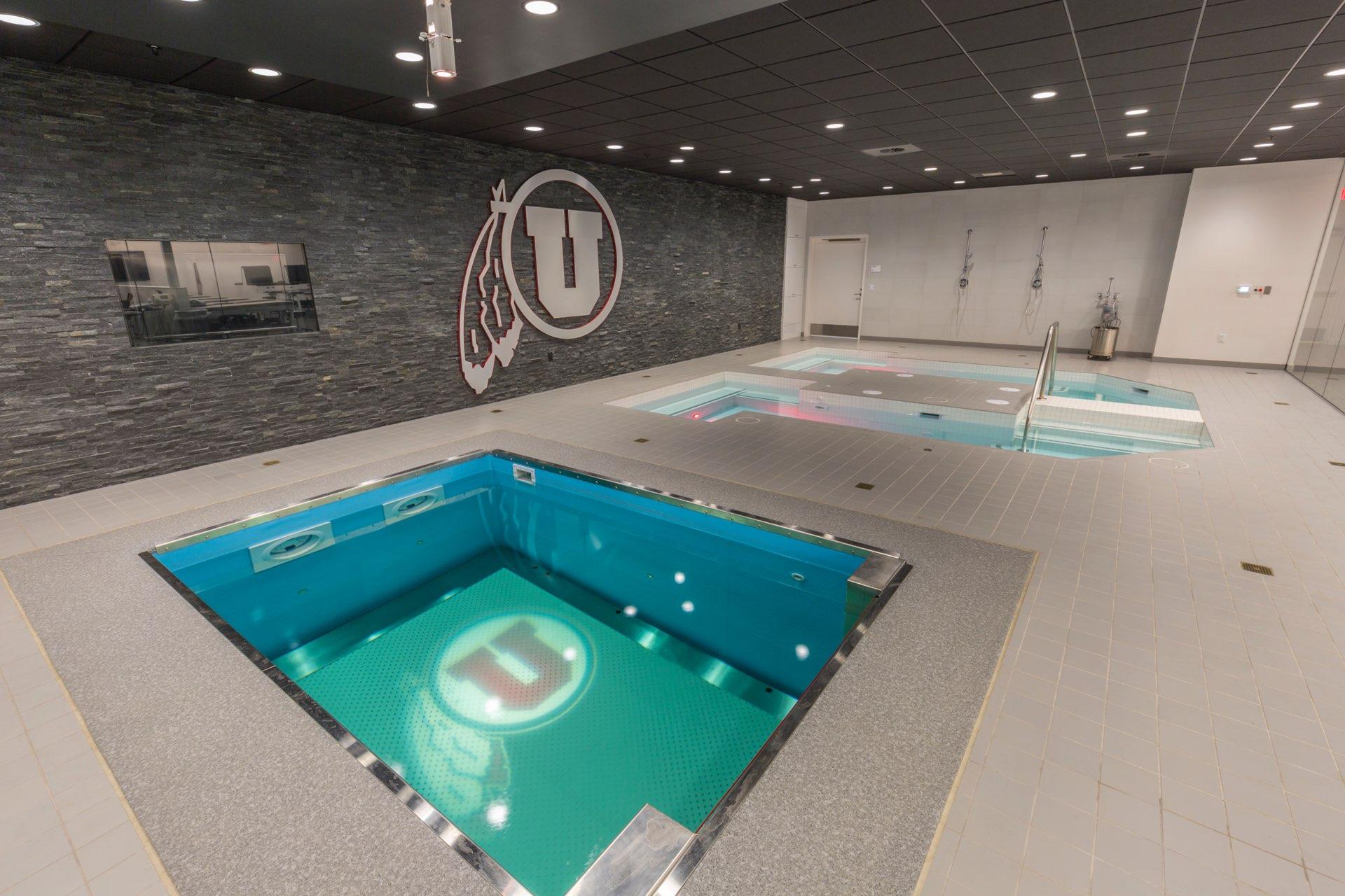 Hot tubs inside the University of Utah Basketball Interior, interior design by Elliott Workgroup