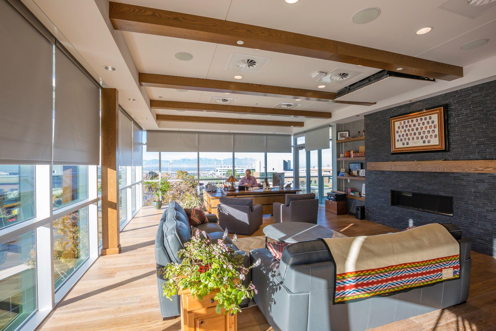 Coach's office inside the University of Utah Basketball Interior, interior design by Elliott Workgroup