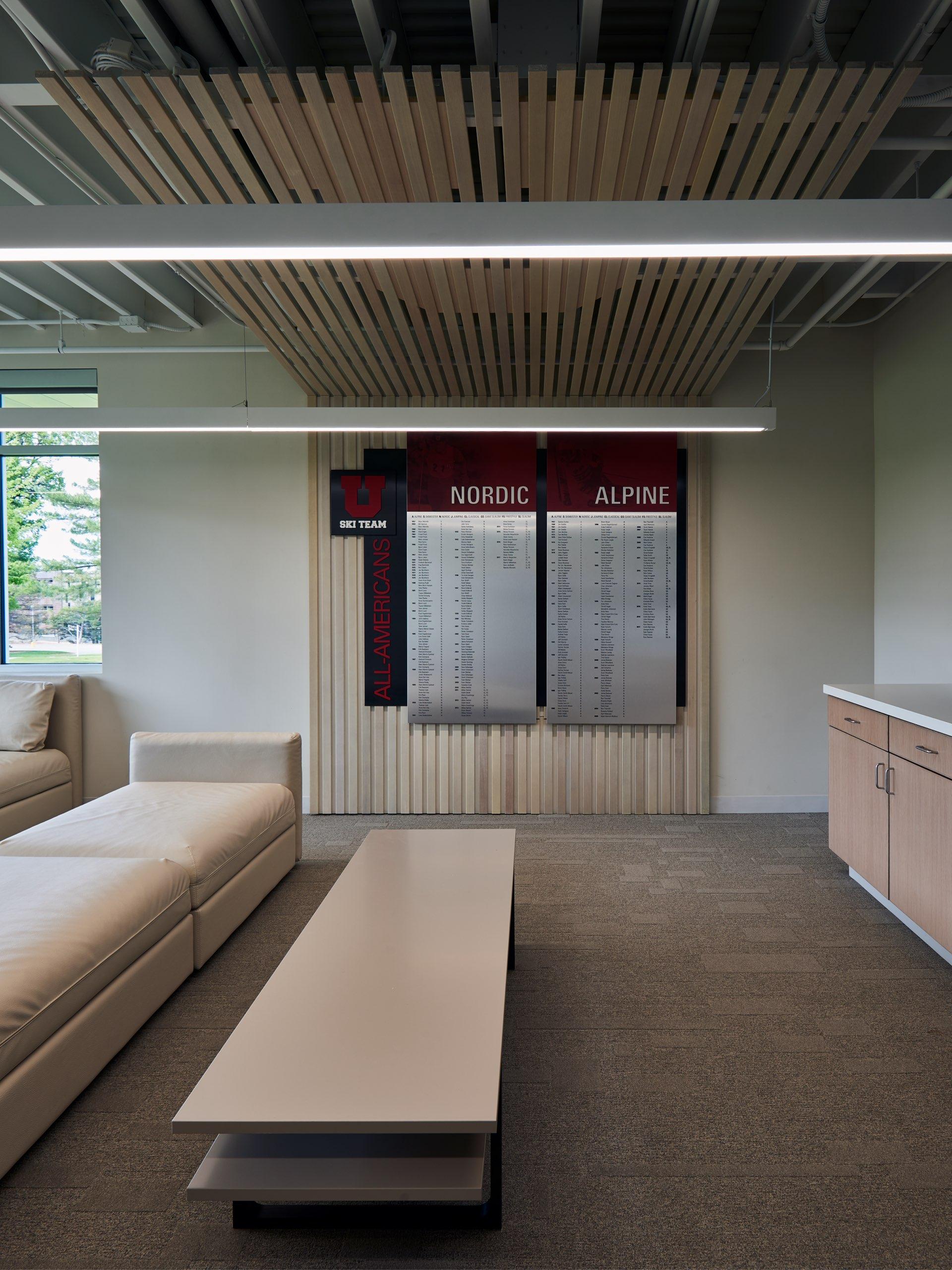 Interior, University of Utah Ski Team Building, architectural design by Elliott Workgroup