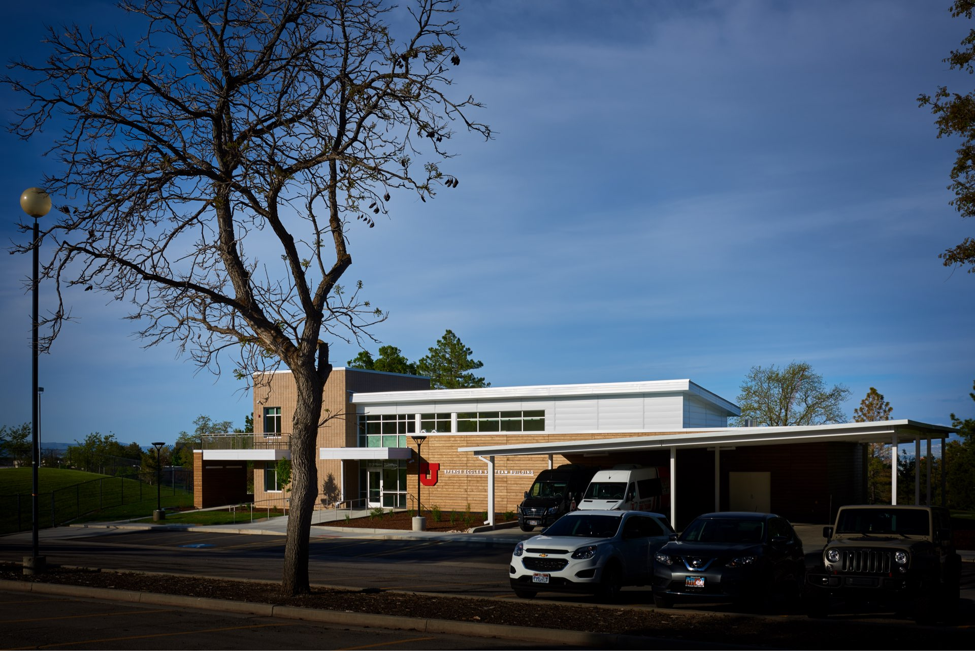 Parking, University of Utah Ski Team Building, architectural design by Elliott Workgroup