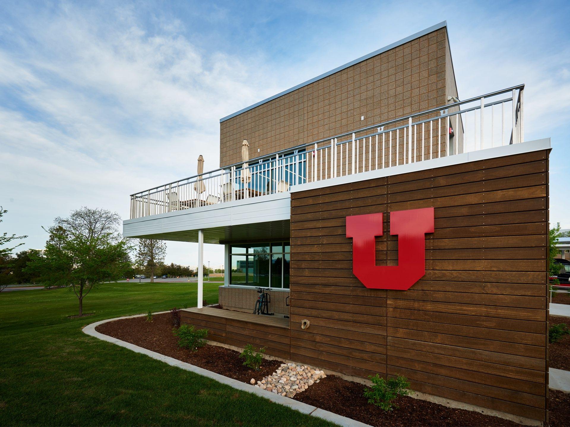 Exterior balcony, University of Utah Ski Team Building, architectural design by Elliott Workgroup