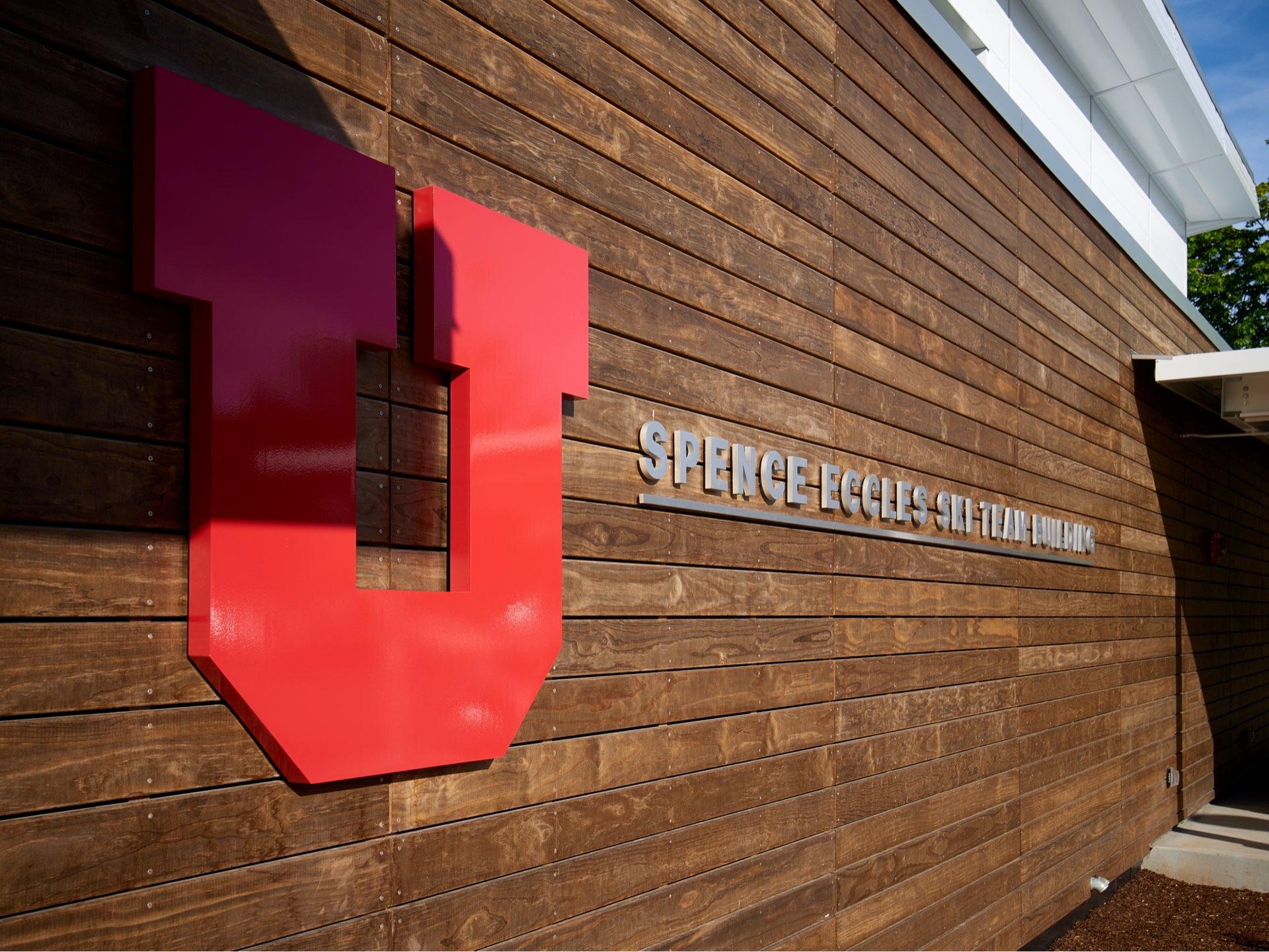 Building sign, University of Utah Ski Team Building, architectural design by Elliott Workgroup