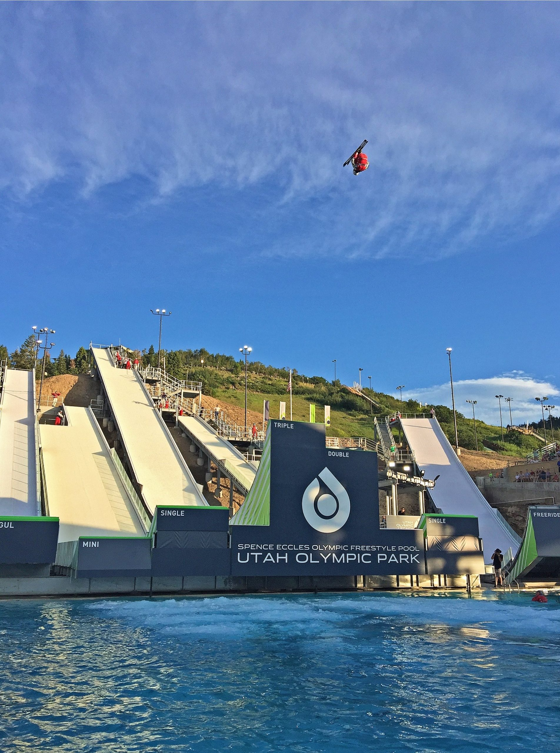 Aerial skier at Utah Olympic Park Water Jumps, Sport & Recreation architectural design by Elliott Workgroup