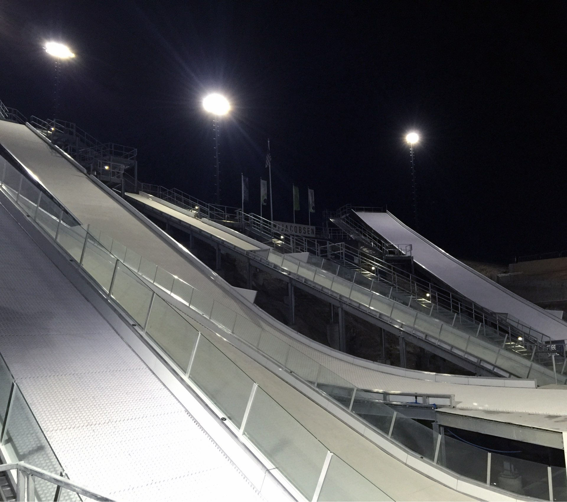 Night view, Utah Olympic Park Water Jumps, Sport & Recreation architectural design by Elliott Workgroup