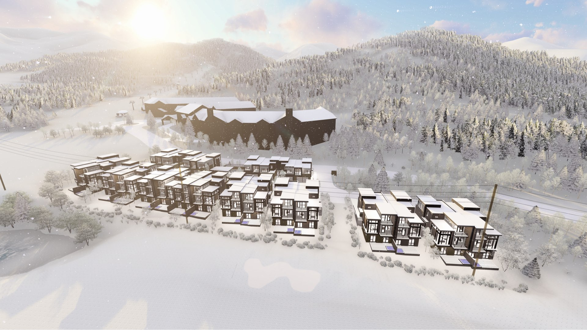Aerial rendering of Viridian Townhomes at Canyons Village in Park City, Utah, architectural design by Elliott Workgroup