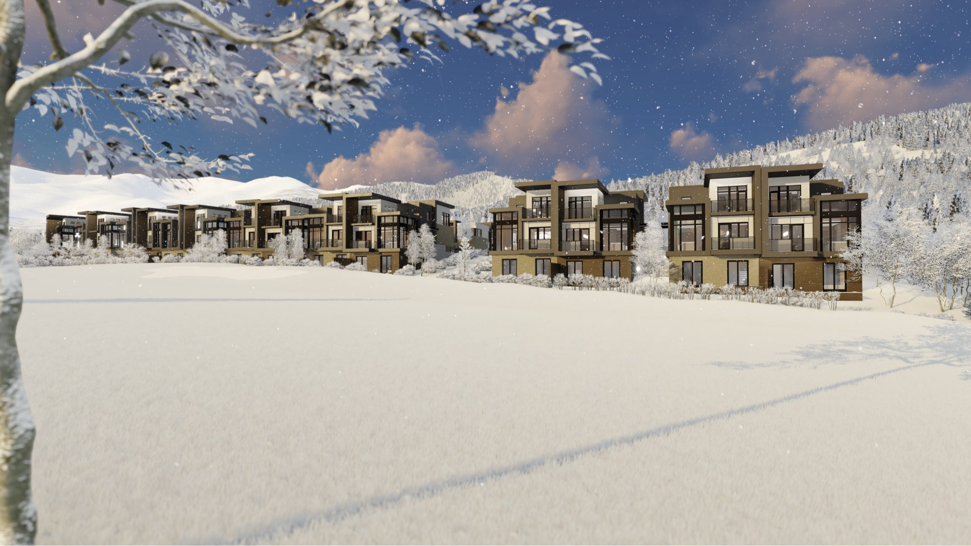Golf course rendering of Viridian Townhomes at Canyons Village in Park City, Utah, architectural design by Elliott Workgroup