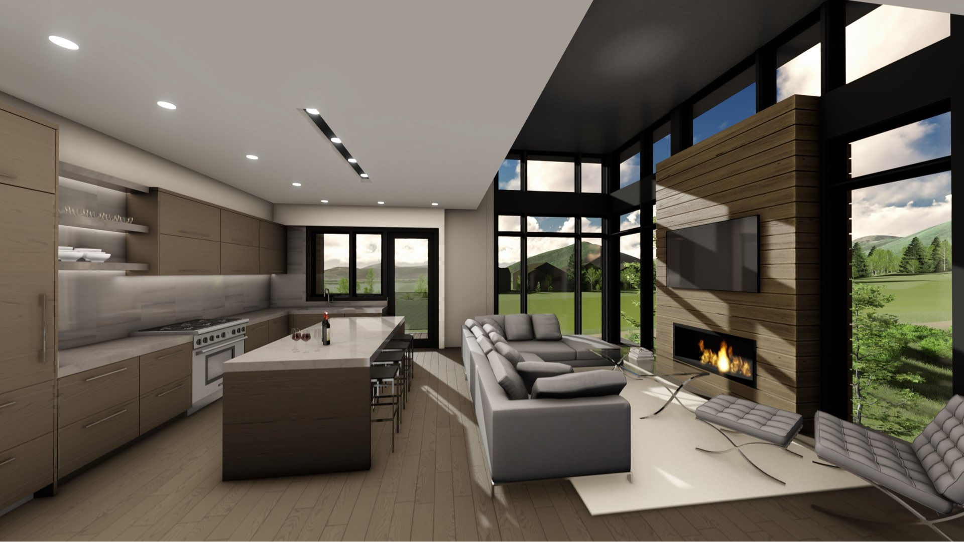 Living room and kitchen rendering of Viridian Townhomes at Canyons Village in Park City, Utah, architectural design by Elliott Workgroup