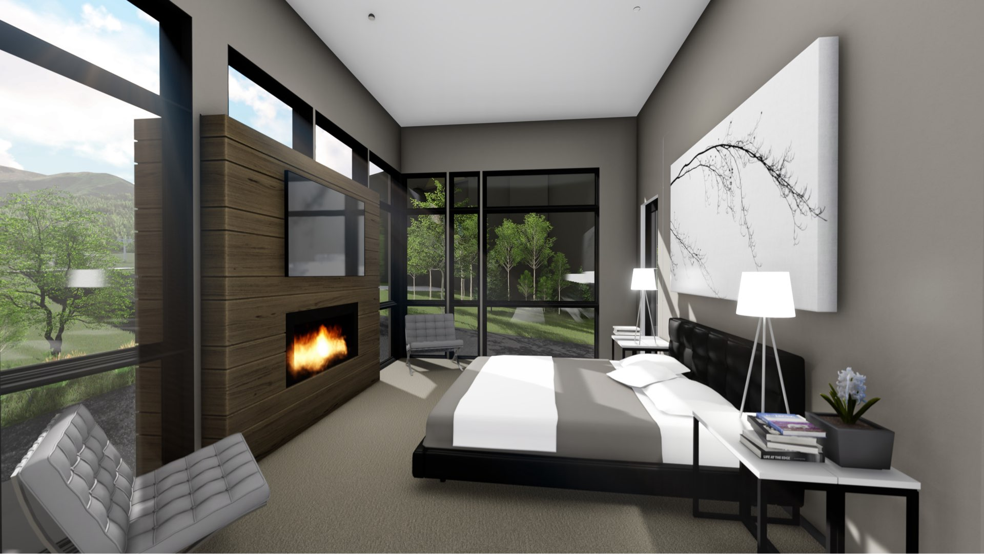 Bedroom rendering of Viridian Townhomes at Canyons Village in Park City, Utah, architectural design by Elliott Workgroup