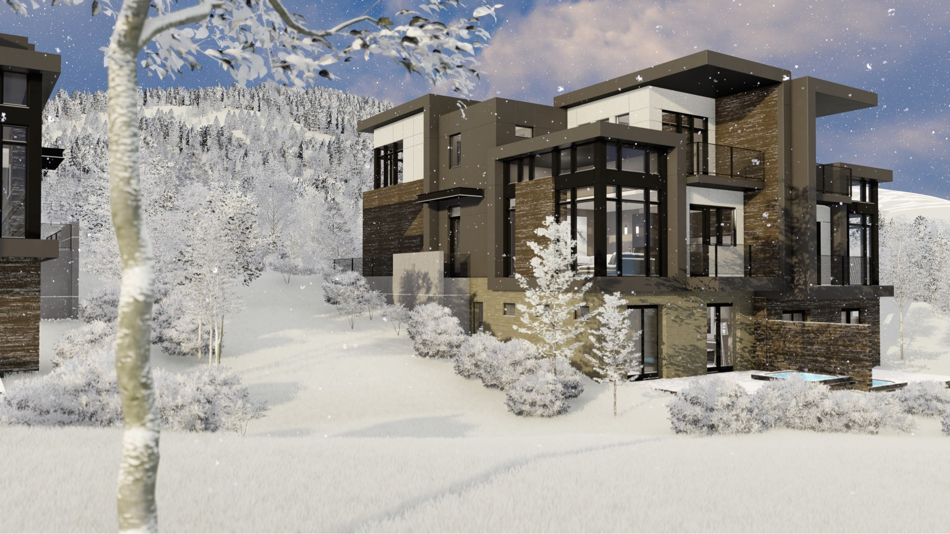 Townhouse rendering of Viridian Townhomes at Canyons Village in Park City, Utah, architectural design by Elliott Workgroup
