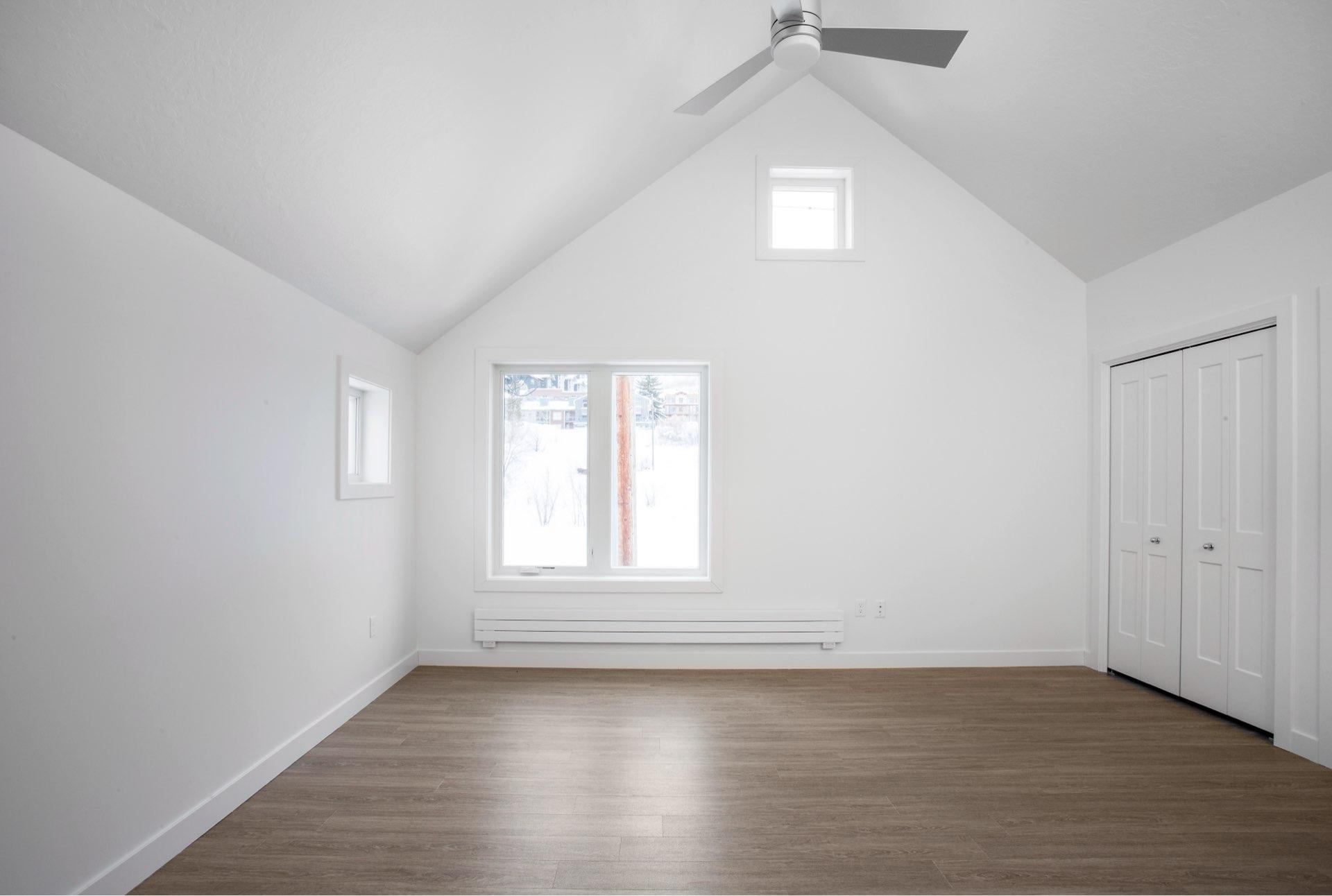 Bedroom, Woodside Park Affordable Housing, architectural design by Elliott Workgroup