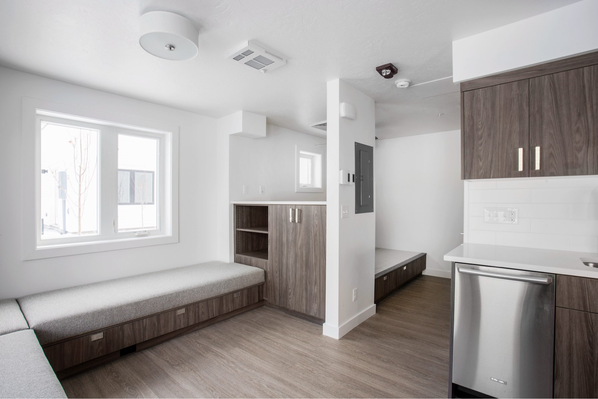 Dining nook, Woodside Park Affordable Housing, architectural design by Elliott Workgroup