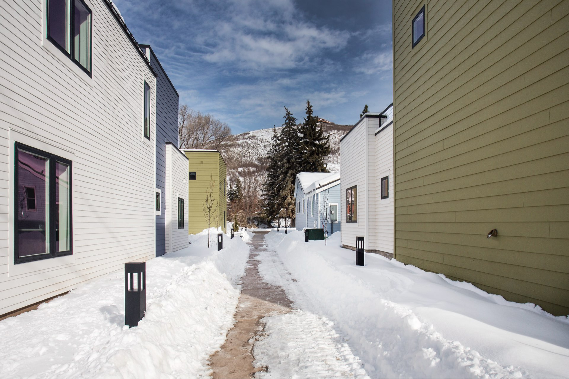 Walkway, Woodside Park Affordable Housing, architectural design by Elliott Workgroup