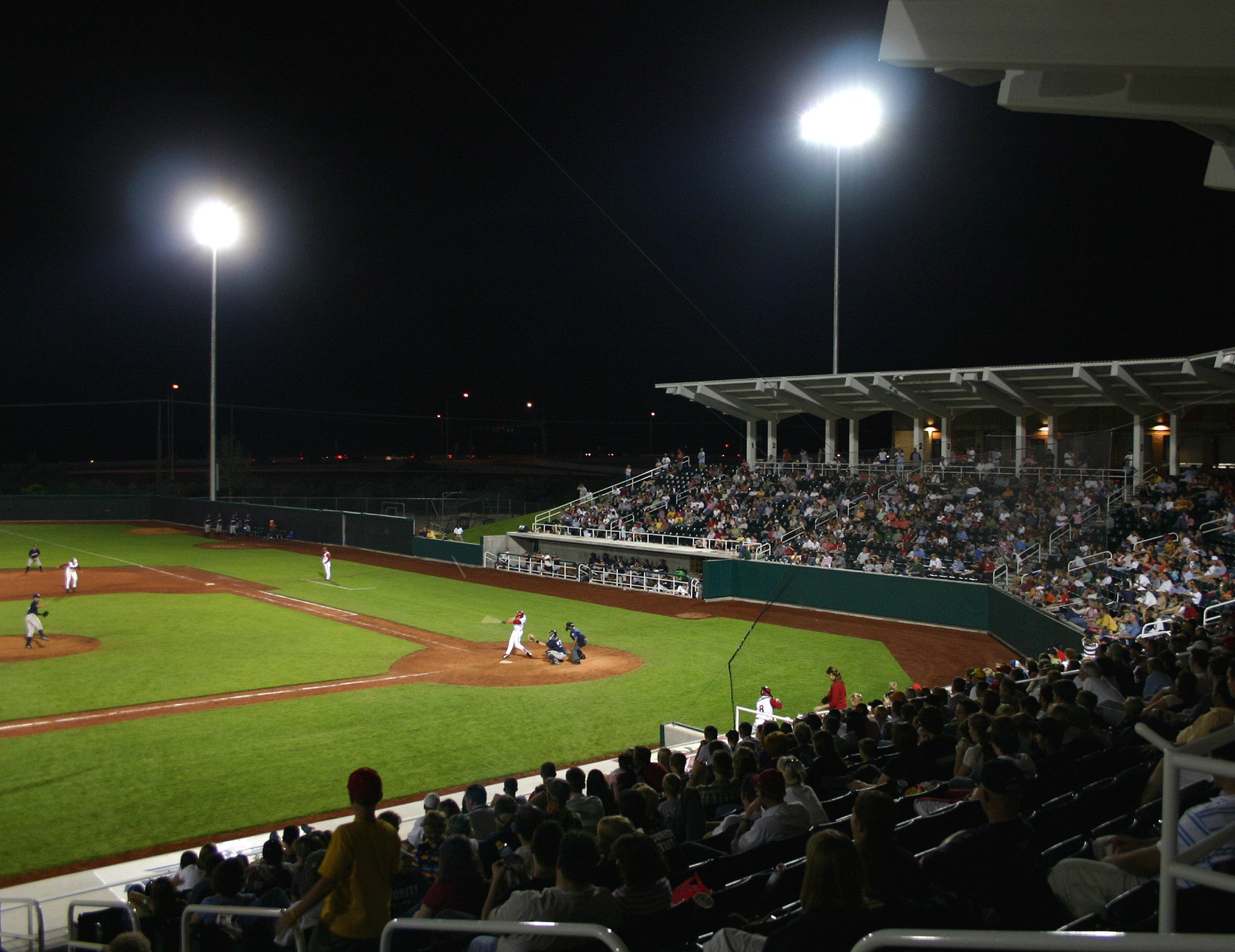 Night game at UCCU Ballpark, architectural design by Elliott Workgroup