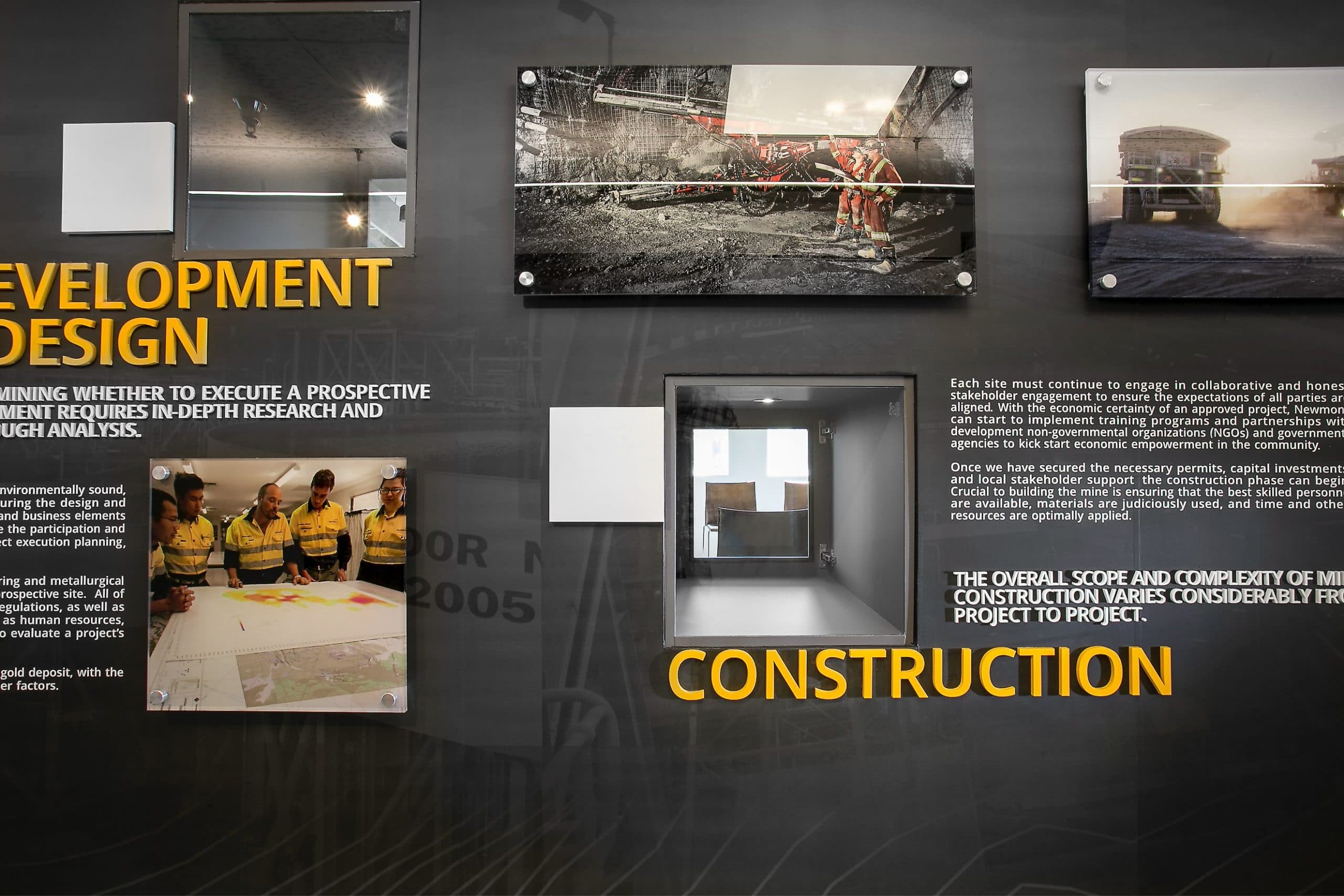 Informational design in the University of Utah Newmont Safety Classroom, architectural design by Elliott Workgroup