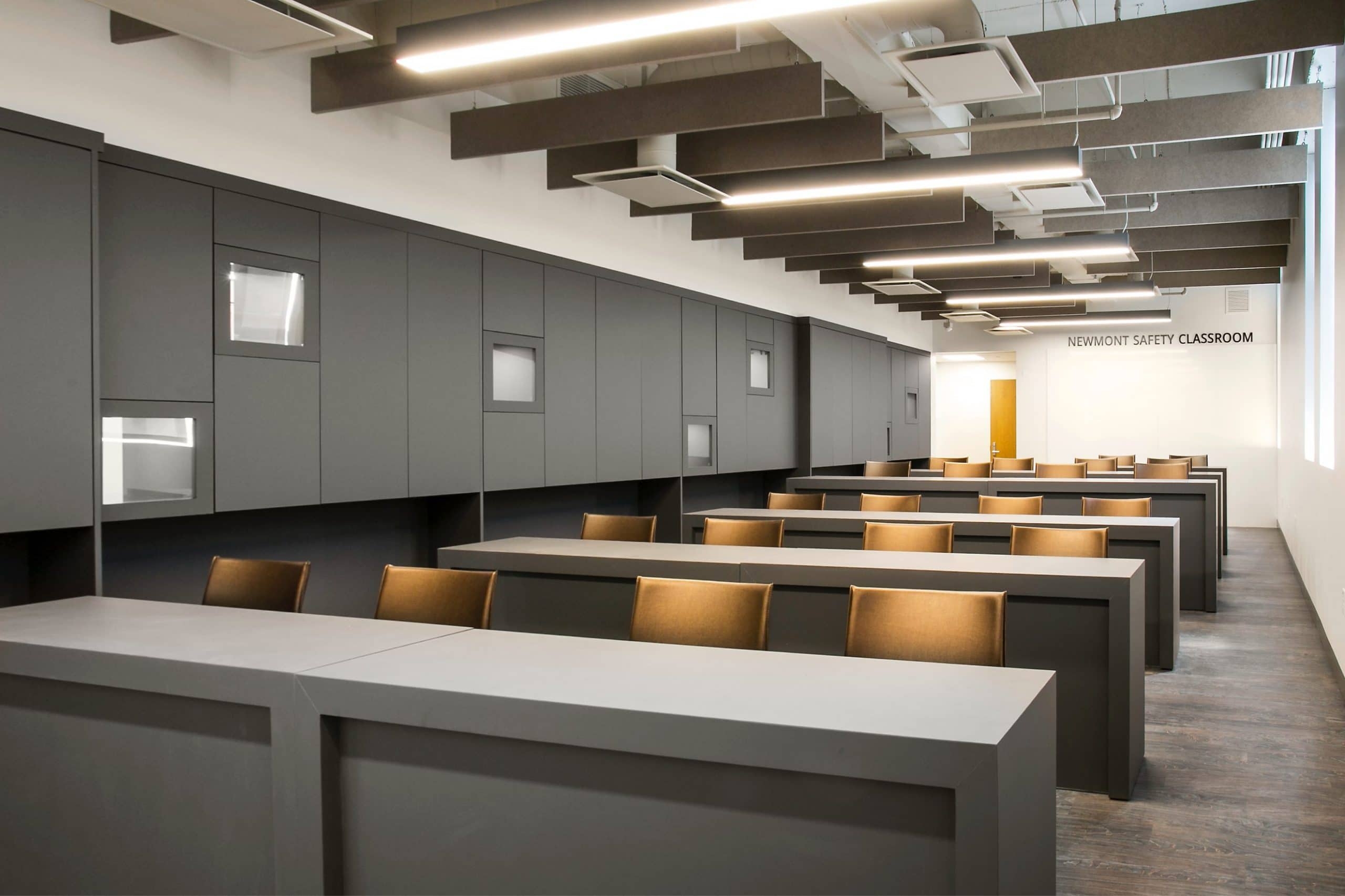 Classroom in the University of Utah Newmont Safety Classroom, architectural design by Elliott Workgroup