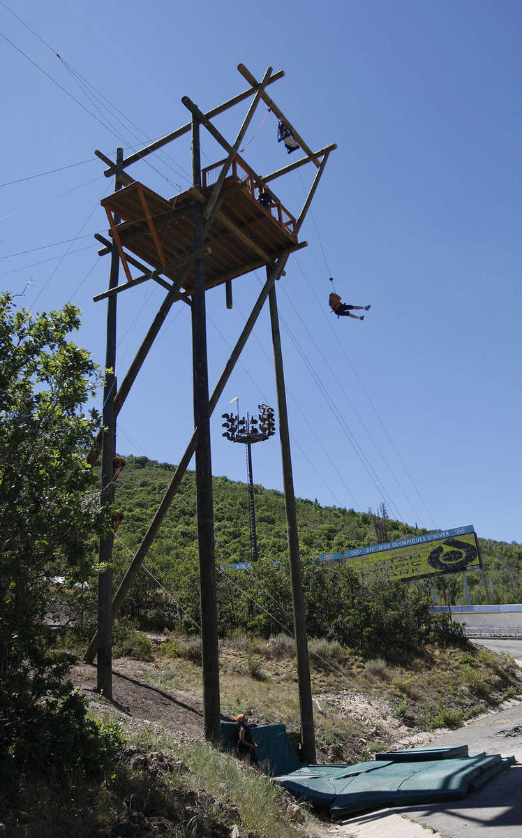 Drop tower on Utah Olympic Park Adventure Course, architectural design by Elliott Workgroup