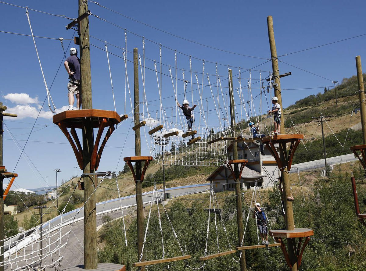 Ropes course on Utah Olympic Park Adventure Course, architectural design by Elliott Workgroup